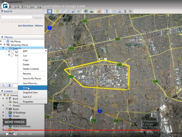 How to use polygons and folders in Google Earth